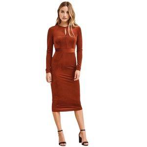 NWT Dynamite Velvet Burnt Orange Long Sleeved Dress